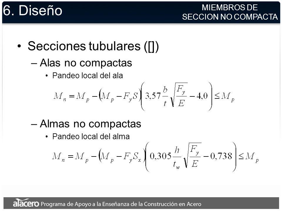 6. Diseño Secciones tubulares ([]) Alas no compactas